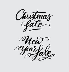 christmas and new year sale handwriting calligraph vector image