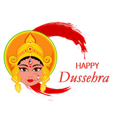 happy dussehra greeting card maa durga face on vector image vector image