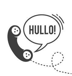 hullo handset with wire black and white vector image