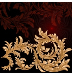 Vintage background with calligraphic floral branch vector image vector image