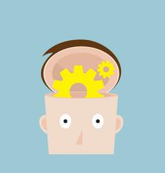 cog gear wheel in human head vector image