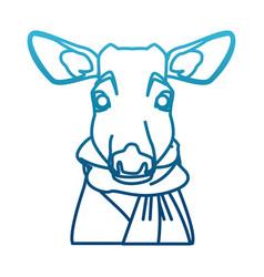 cute reindeer with scarf cartoon vector image vector image