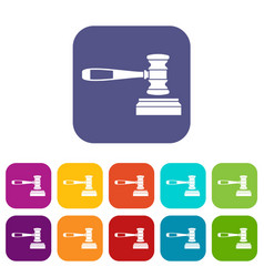 judge gavel icons set vector image vector image