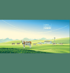 rural landscape with cows and farm with mountain vector image vector image