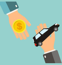 Car rental or sale concept hand holding car vector