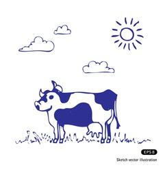 Cow grazes vector image vector image