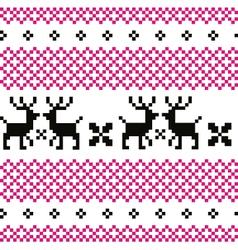 Cute reindeer pattern - black and pink vector image vector image