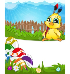 Easter scene with chicken and colorful eggs vector image vector image