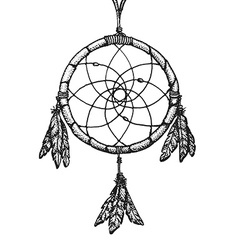 hand drawn indian dreamcatcher vintage vector image