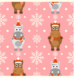 new year seamless background with funny horse vector image