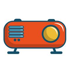 retro orange radio receiver icon cartoon style vector image