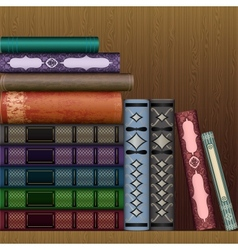 shelf with old books vector image