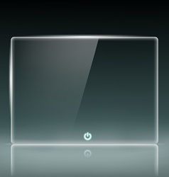 Transparent glass screen with a button vector image vector image