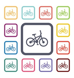 bike flat icons set vector image vector image