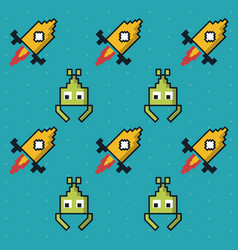 colorful pattern of alien and rockets game vector image vector image