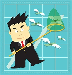 Cute Stock Market Investor Flat Cartoon vector image vector image