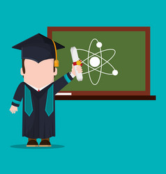 graduate student with diploma and chalkboard vector image