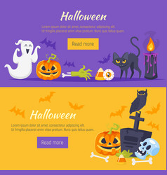 halloween banner with holiday symbols vector image vector image