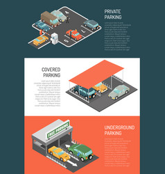 parking isometric banners set vector image