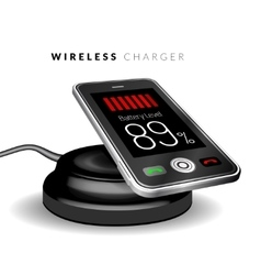 Smartphone on a wireless charge vector image