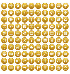100 multimedia icons set gold vector image