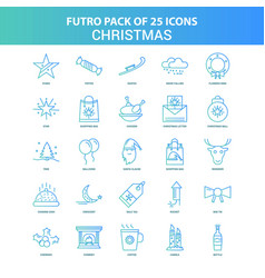25 green and blue futuro christmas icon pack vector
