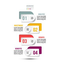 4 step process work flow infographic template vector