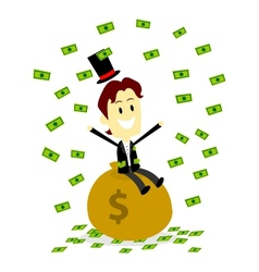A Rich Man Sitting On and Make It Rain His Money vector image
