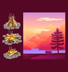 abstract nature landscape mountain and forest vector image