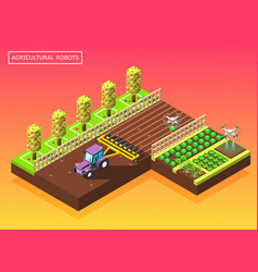 agricultural robots isometric composition vector image