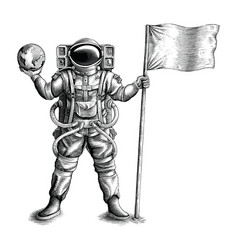 Astronaut standing and holding flag and globe vector