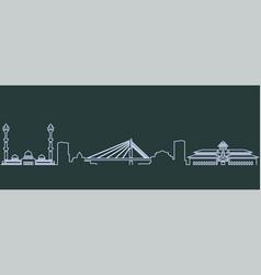 bandung single line skyline vector image