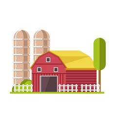 barn and water towers farming agricultural vector image