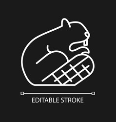 Beaver white linear icon for dark theme vector