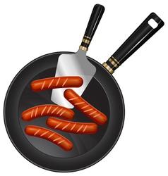 breakfast sausage pan spoon vector image