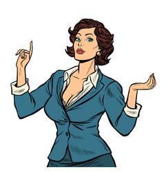 Businesswoman presentation gesture isolate vector