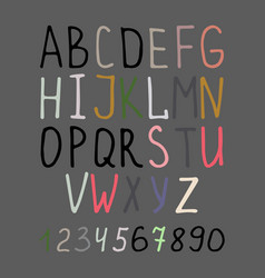 calligraphy alphabet on grey background vector image