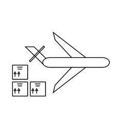 Cargo plane icon outline style vector
