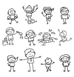 Cartoon character kids playing vector