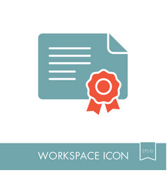 Certified outline icon workspace sign vector