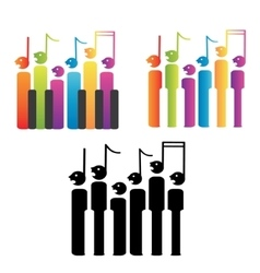 Choir of notes and piano keys vector image