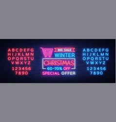 christmas festive sale a poster in a neon style vector image