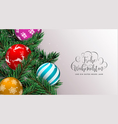 christmas tree decoration banner in german vector image