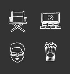 cinema chalk icons set vector image