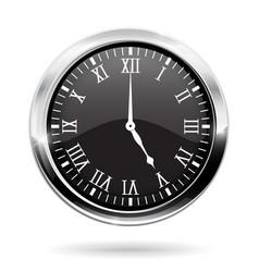 Clock black round clock with roman numerals vector