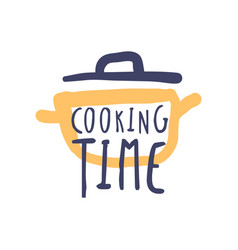 Cooking time hand drawn logo design vector