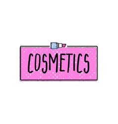 cosmetics logo handwritten lettering makeup vector image