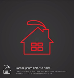 Cozy home outline symbol red on dark background vector