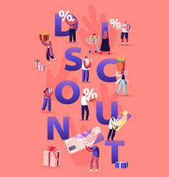 Discount and sale concept happy people shopping vector
