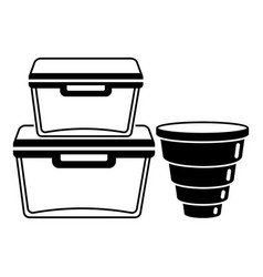 empty plastic lunch boxes icon simple style vector image